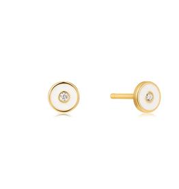 Ania Haie Ania Haie - Optic white enamel disc gold stud earings