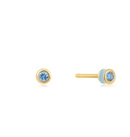 Ania Haie Ania Haie - Sage enamel gold stud earing blue