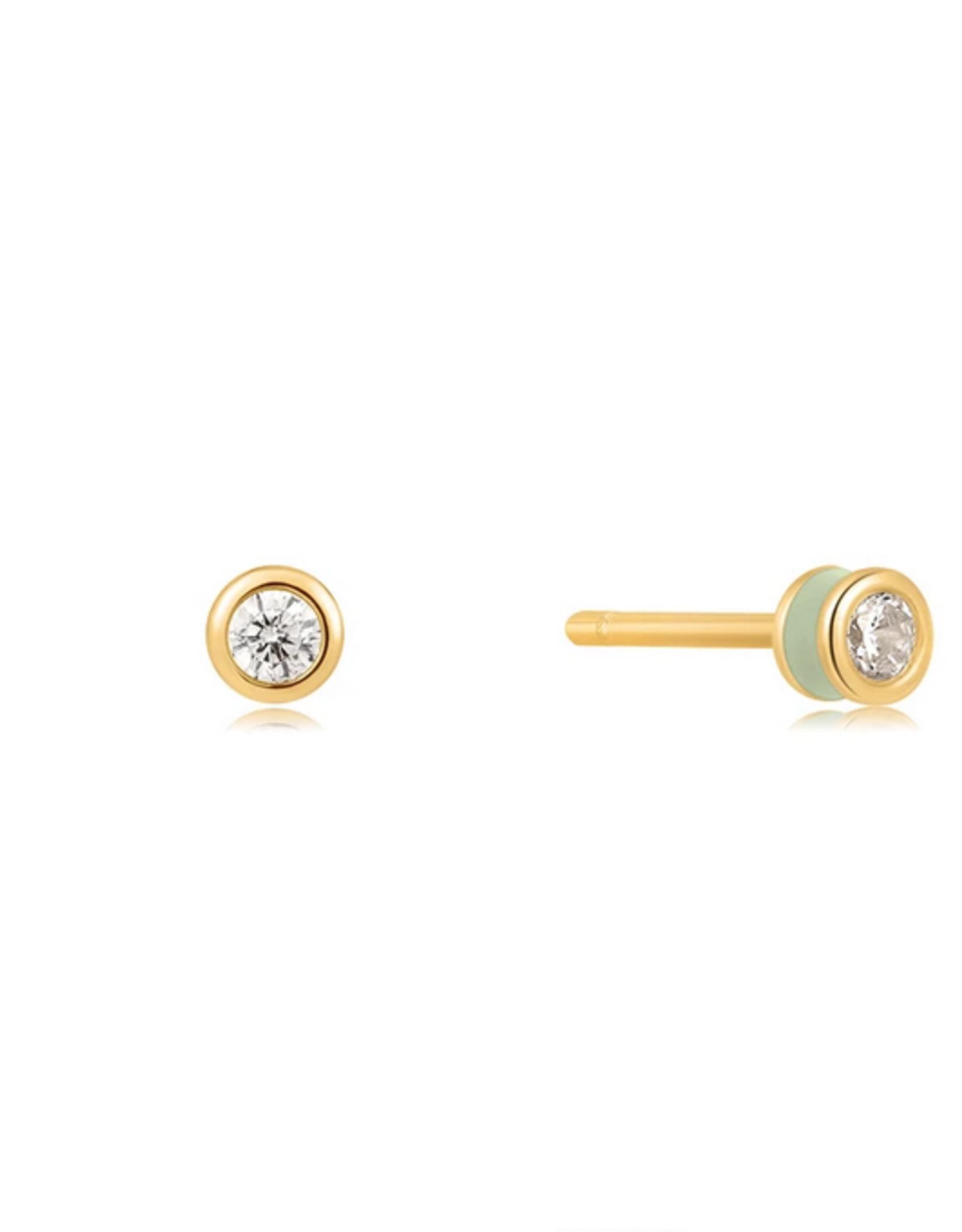 Ania Haie Ania Haie - Sage enamel gold stud earing white