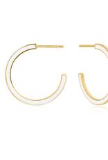 Ania Haie Ania Haie - White enamel gold hoop - Earings