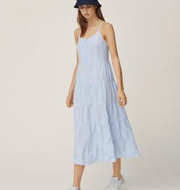 Moss Copenhagen Msch - Pamina SL Dress - WHT/ L BLUE STP