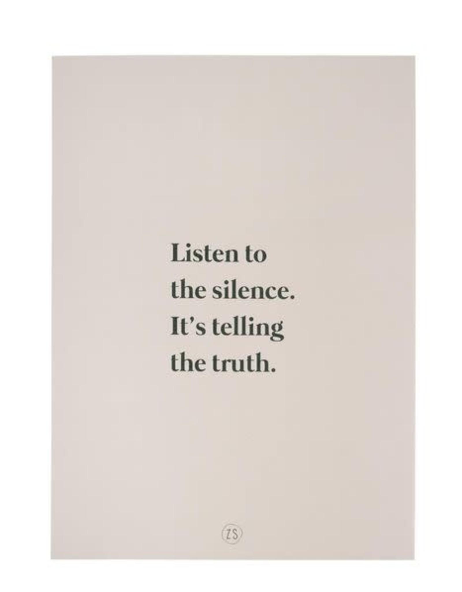 Zusss Zusss - A4 poster- listen to the silence zand