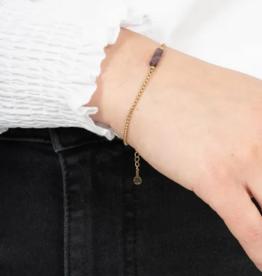 Zusss Zusss - armband met amethist hangertje goud