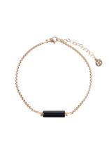 Zusss Zusss - armband met obsidiaan hangertje goud