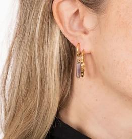 Zusss Zusss - oorbellen met amethist hangertje goud