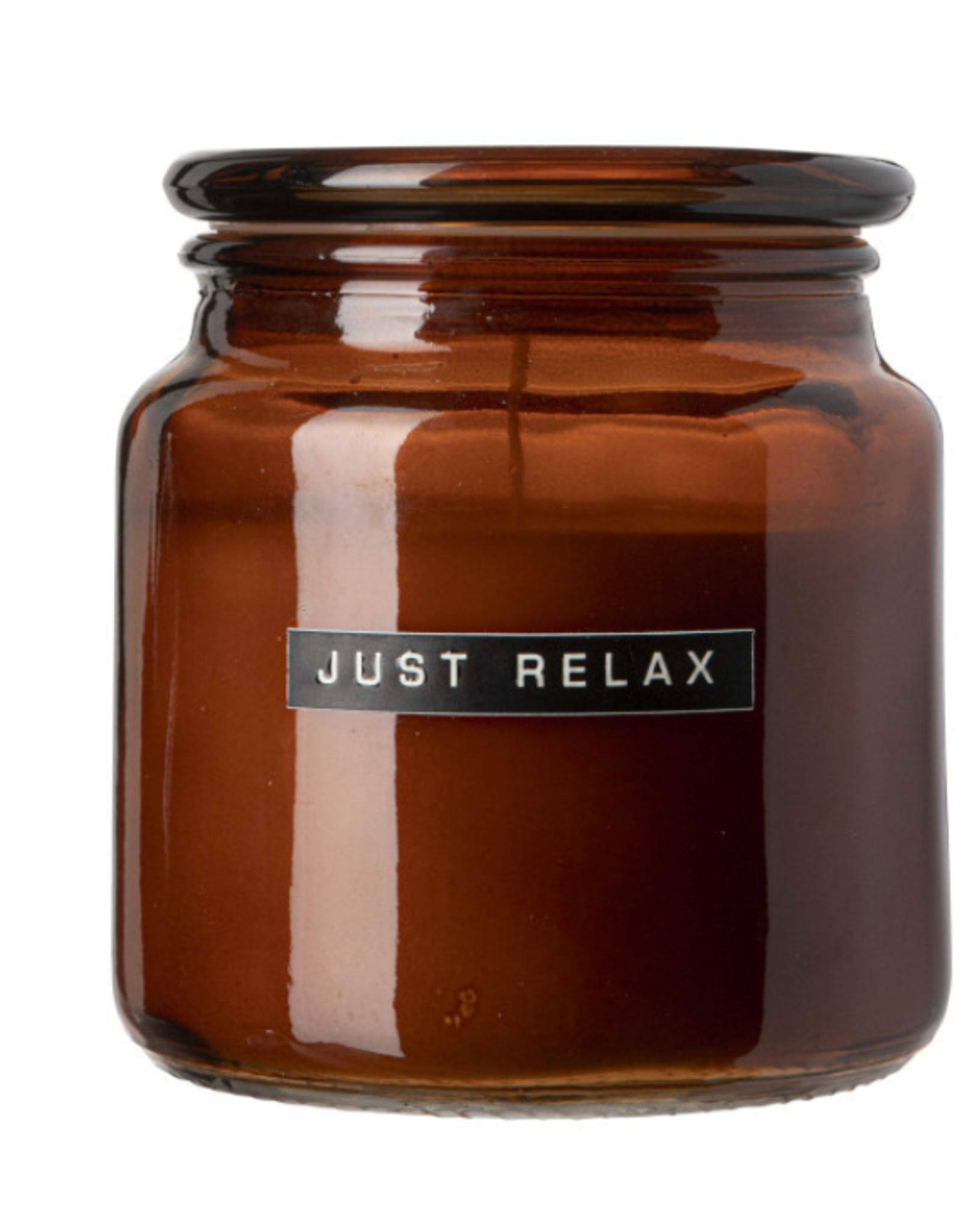 Wellmark Wellmark - Grote geurkaars 500ml - cedarwood - bruin glas - Just Relax