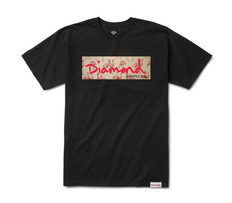 Diamond Flamingo Box Logo Tee Black
