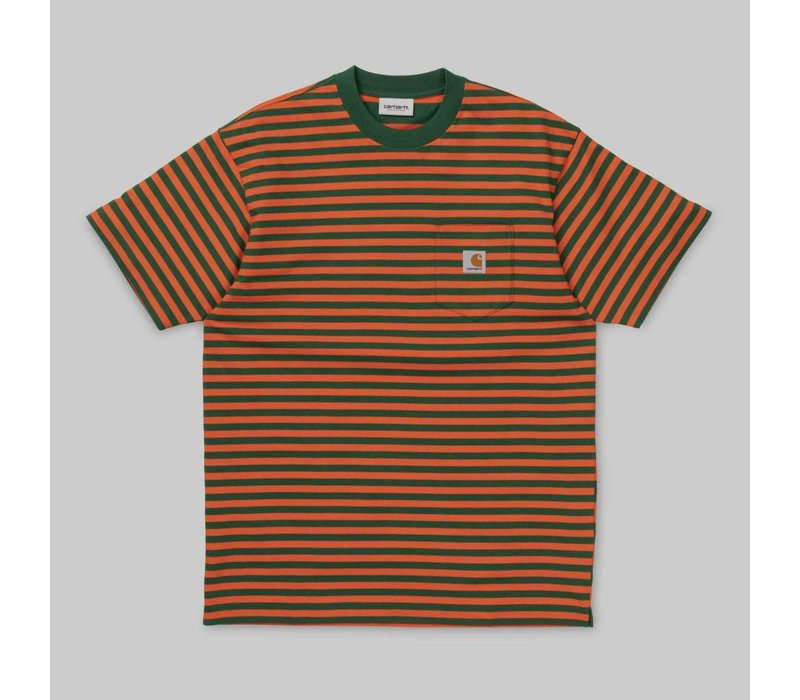 Carhartt Barkley Pocket Tee Stripe Dragon/Clivia