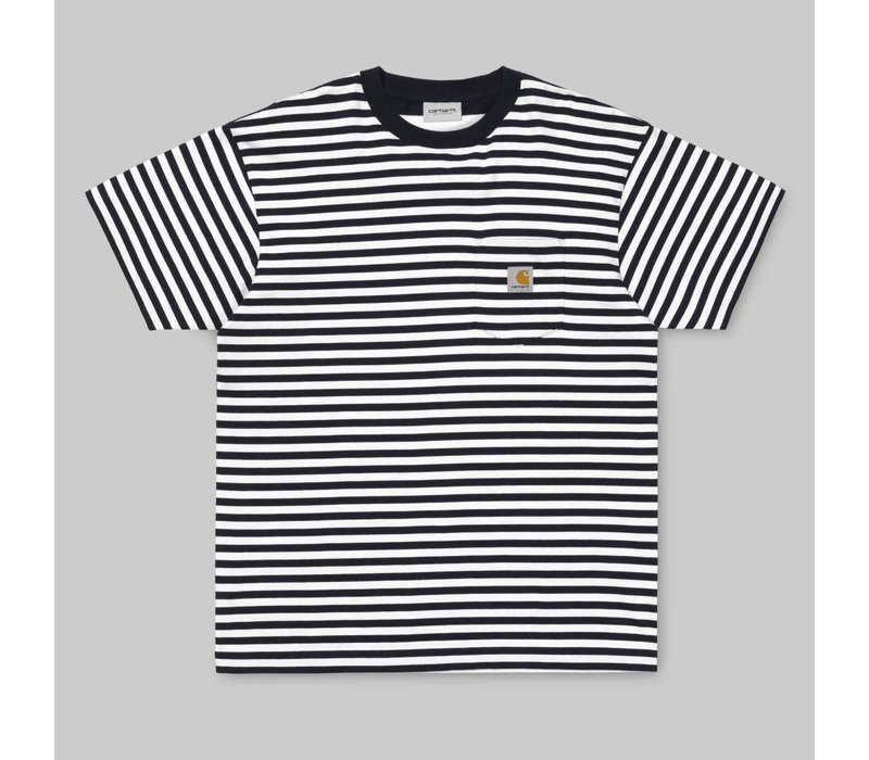 Carhartt Barkley Pocket Tee Stripe Dark Navy/White