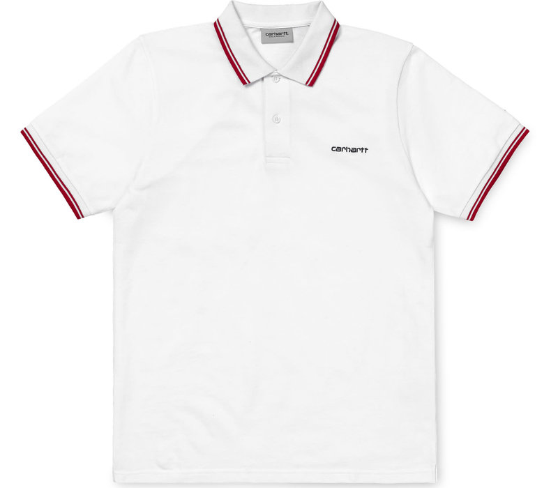 Carhartt Script Embroidery Polo White/DarkNavy