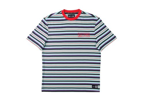 Welcome Welcome Surf Stripe Short Sleeve Knit - Red/Purple/Teal