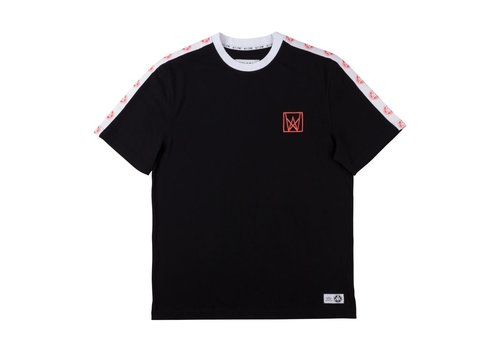 Welcome Welcome Chalice Taped Short Sleeve Knit Black/White/Coral