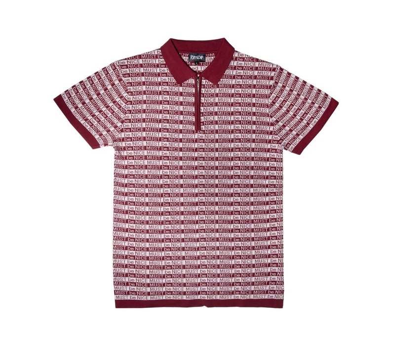 Ripndip MBN Half Zip Rugby Polo (Burgundy/White)