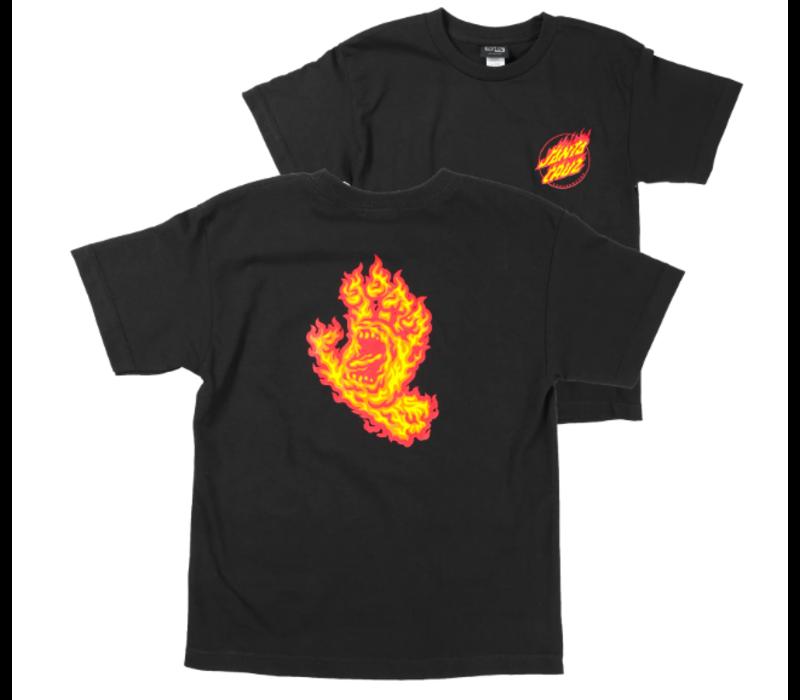 Santa Cruz Youth Flame Hand Tee Black