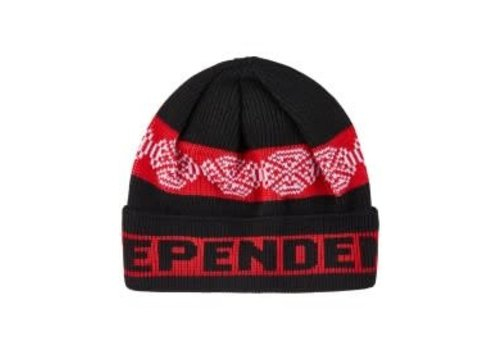 Independent Independent Woven Crosses Fold Over Beanie Black/Red