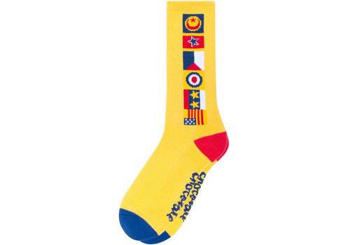 Lakai Lakai Chocolate Flags Crew Sock Yellow