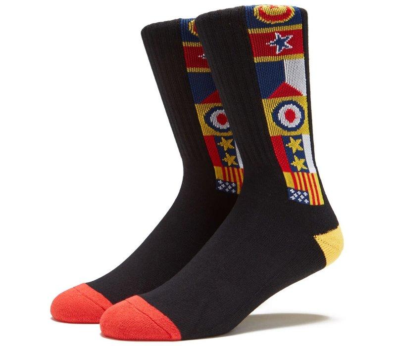 Lakai Chocolate Flags Crew Sock Black