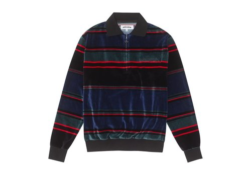 Fucking Awesome FA - Block Strip Velour 1/4 Zip Blue/Red