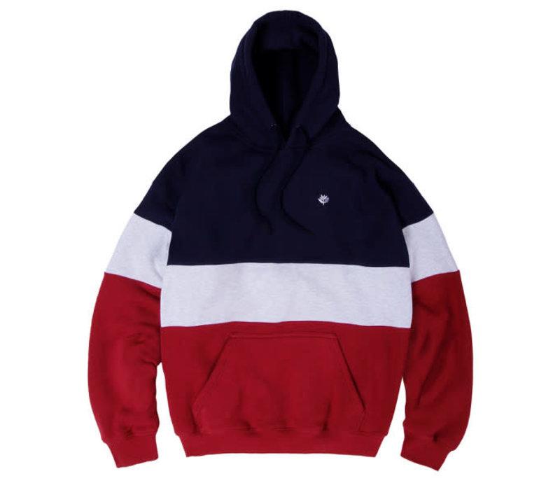 Magenta Brodé Hoodie Tricolor Navy/Ash/Burgundy