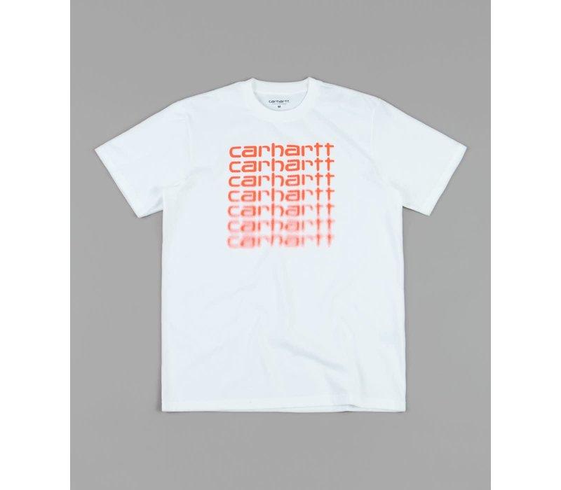 Carhartt Fading Script Tee White/Pop Coral