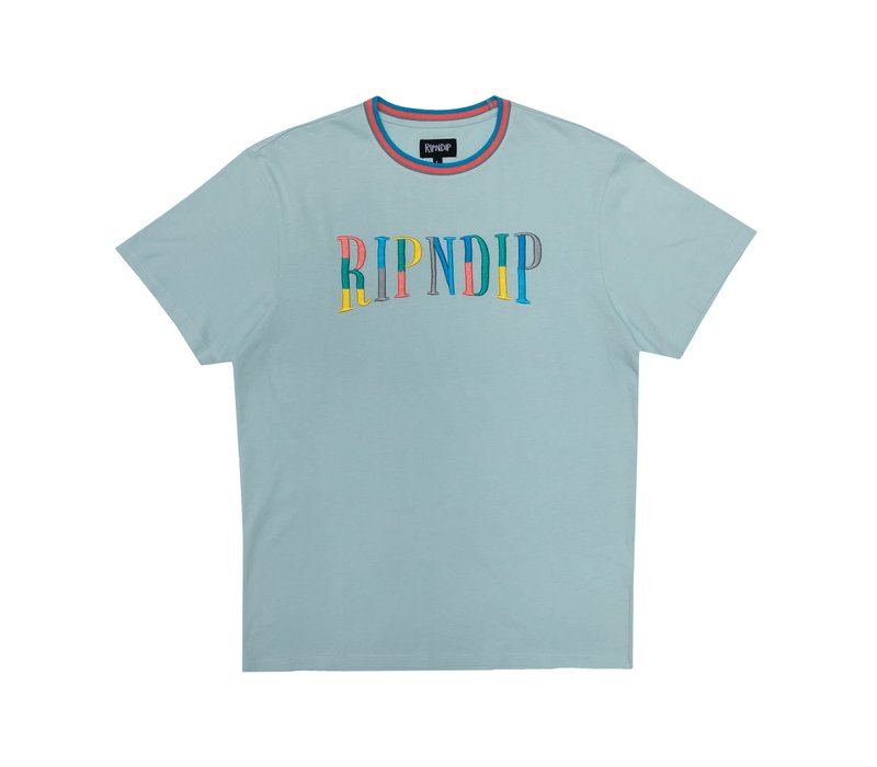 Ripndip Color Block Logo Tee Ice Blue
