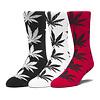 HUF Huf 3-Pair Plantlife Socks Black/White/Cyber Red