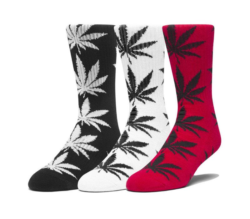 Huf 3-Pair Plantlife Socks Black/White/Cyber Red