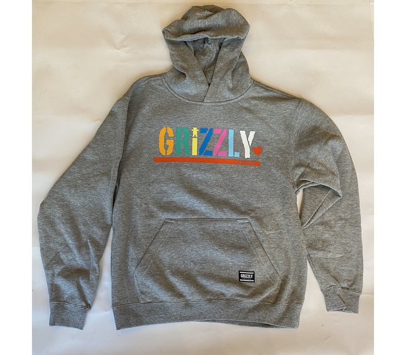 Grizzly Color Block Youth Hoodie Grey