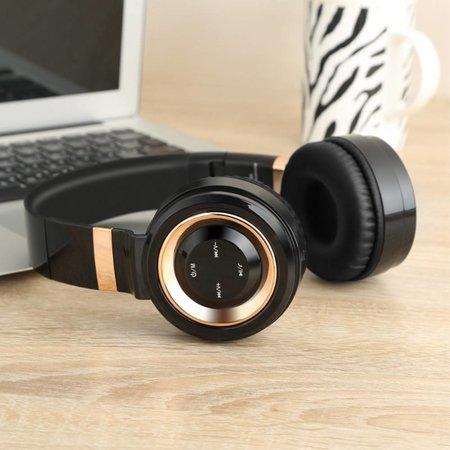 P6 Inklapbare Megabass Bluetooth Koptelefoon - Zwart + Goud