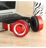 P6 Inklapbare Megabass Bluetooth Koptelefoon - Zwart + Rood