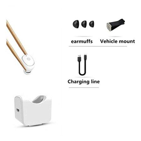 C1 Mini Bluetooth Oortje met Auto Oplader Holder - Wit