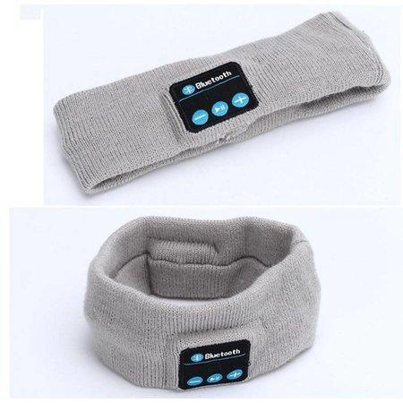 Fleece Bluetooth Hoofdband met Built-in Oortjes - Lichtgrijs
