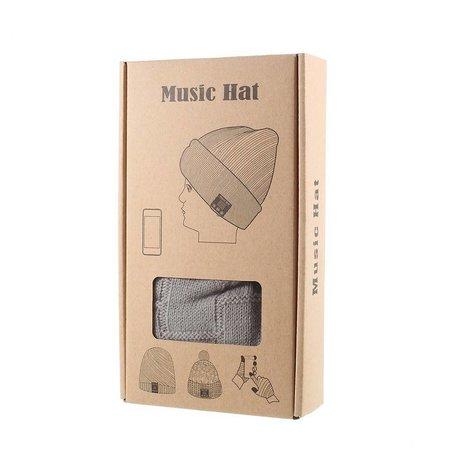 Gebreide Muts met Built-in Bluetooth Headphones - Donkergrijs