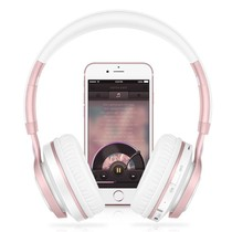 BT08 Over-ear Bluetooth Koptelefoon - Wit / Rosé Goud