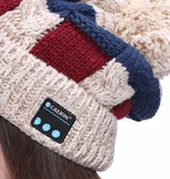 New York Gebreide Muts met Built-in Bluetooth Headset - Beige