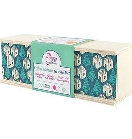 Lamazuna Giftset Donkergroen: Shampoo in blok + Konjac spons + Cacaoboter