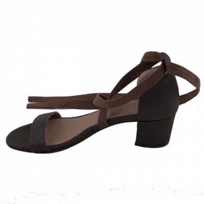 NAE vegan shoes Sandaal met hak Clau Brown ananasleer