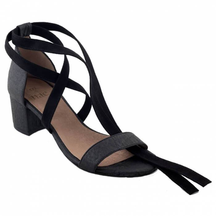 NAE vegan shoes Sandaal ananasleer Clau Black