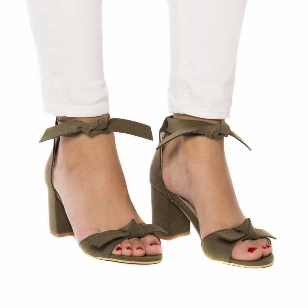 NAE vegan shoes Sandaal met hak Estela groen