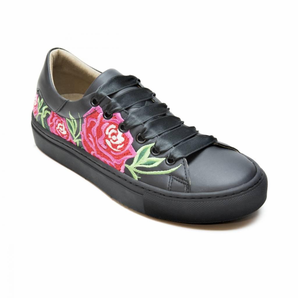 NAE vegan shoes Vegan bloemen sneaker zwart