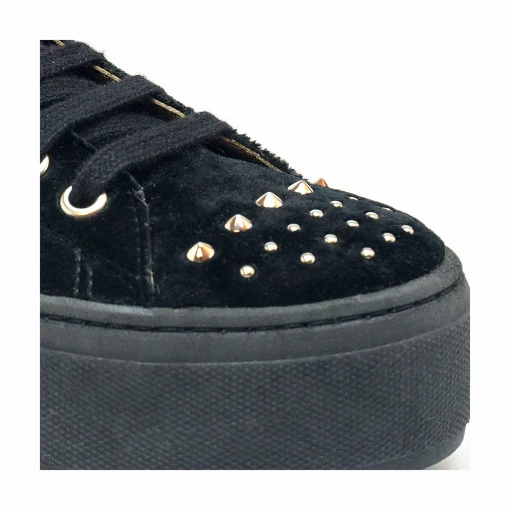 NAE vegan shoes Platform Sneakers Wika Velvet Zwart