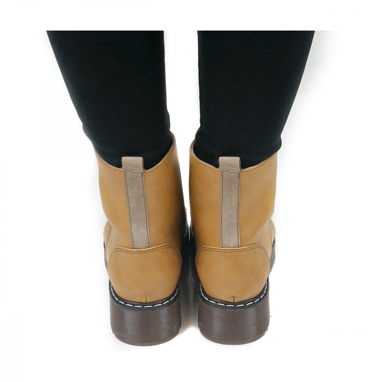NAE vegan shoes Enkellaars Trina Camel