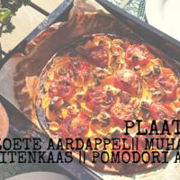 Plaattaart met Zoete Aardappel, Geitenkaas en Pomodori al Forno