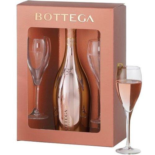 Bottega Glamour Rose Gold Box met 2 glazen - Mousserende wijn
