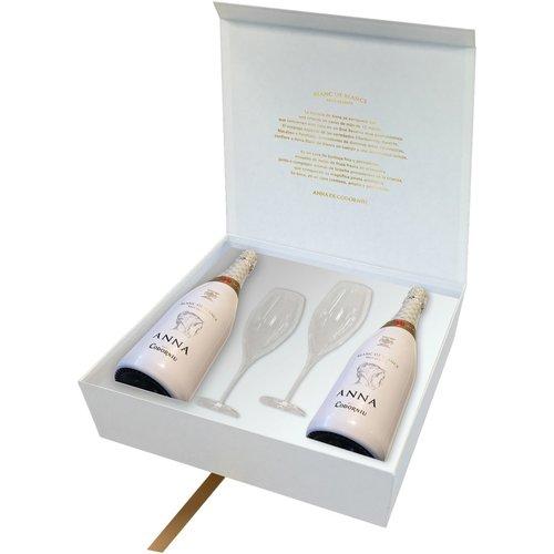 ANNA DE CODORNIU Blanc de Blancs in Giftbox + 2 Glazen - Mousserende wijn