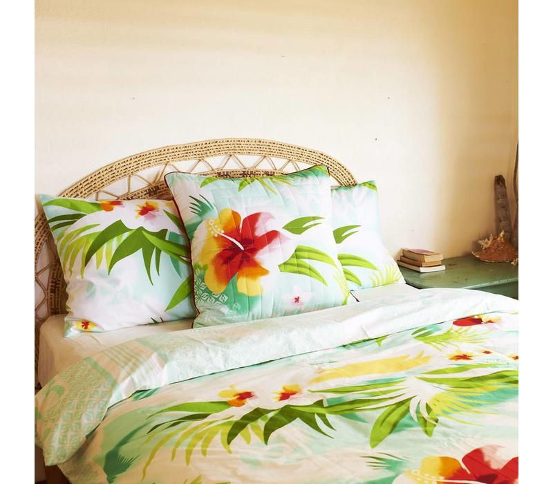 Pacific flower quilted cushion