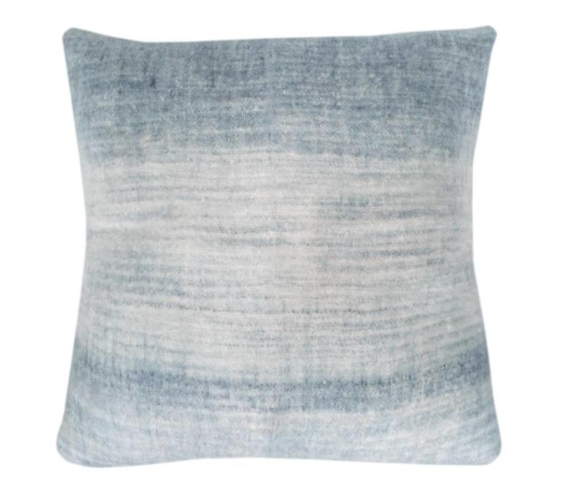 Tye dye blue mohair cushion