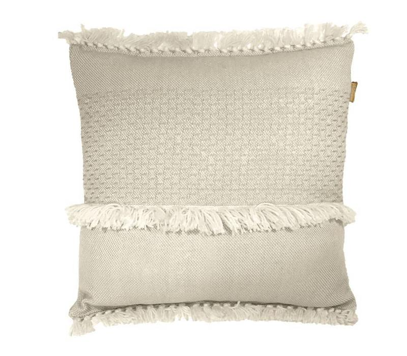 Offwhite fringe cushion