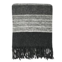Night black wool throw