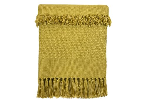 Mustard fringe throw